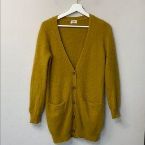 Wallace yellow rabbit hair cardigan size small.